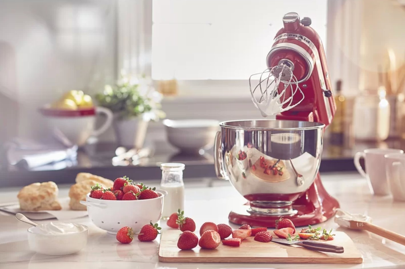 The KitchenAid stand mixer in red
