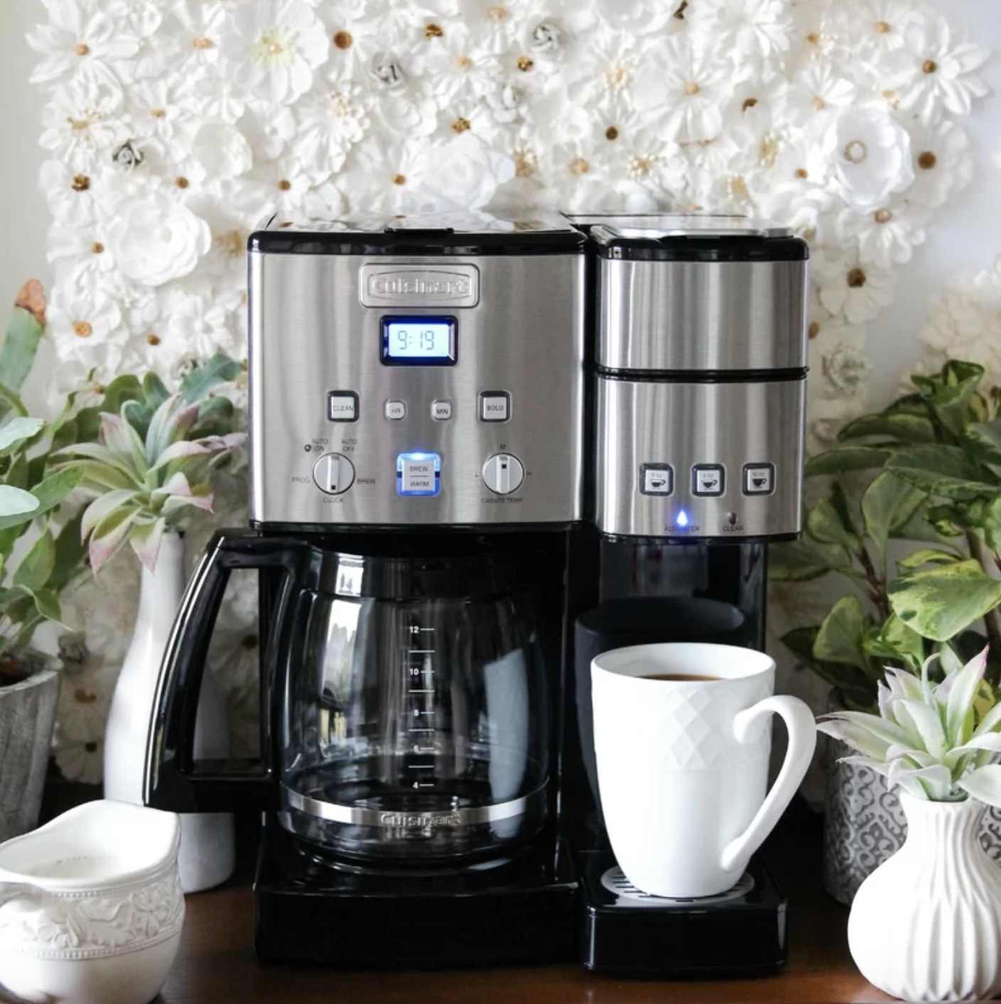 The Cuisinart coffee maker in silver