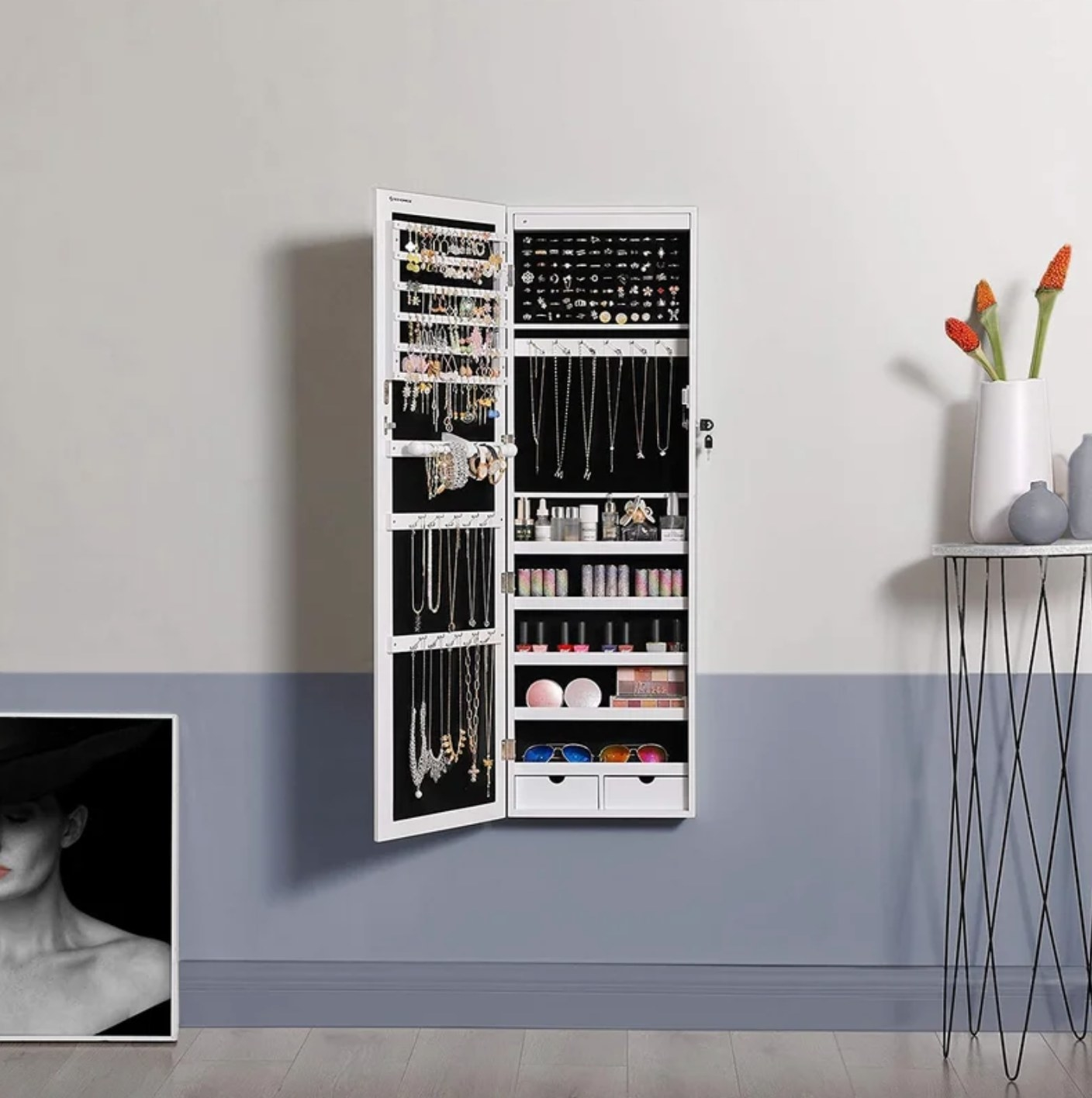 The jewelry armoire in white