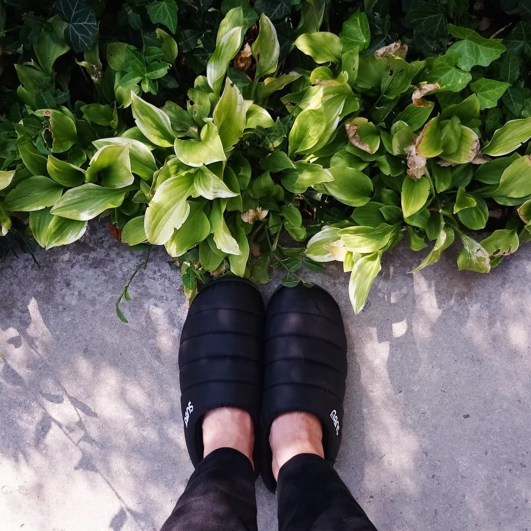 A person's feet with slippers on