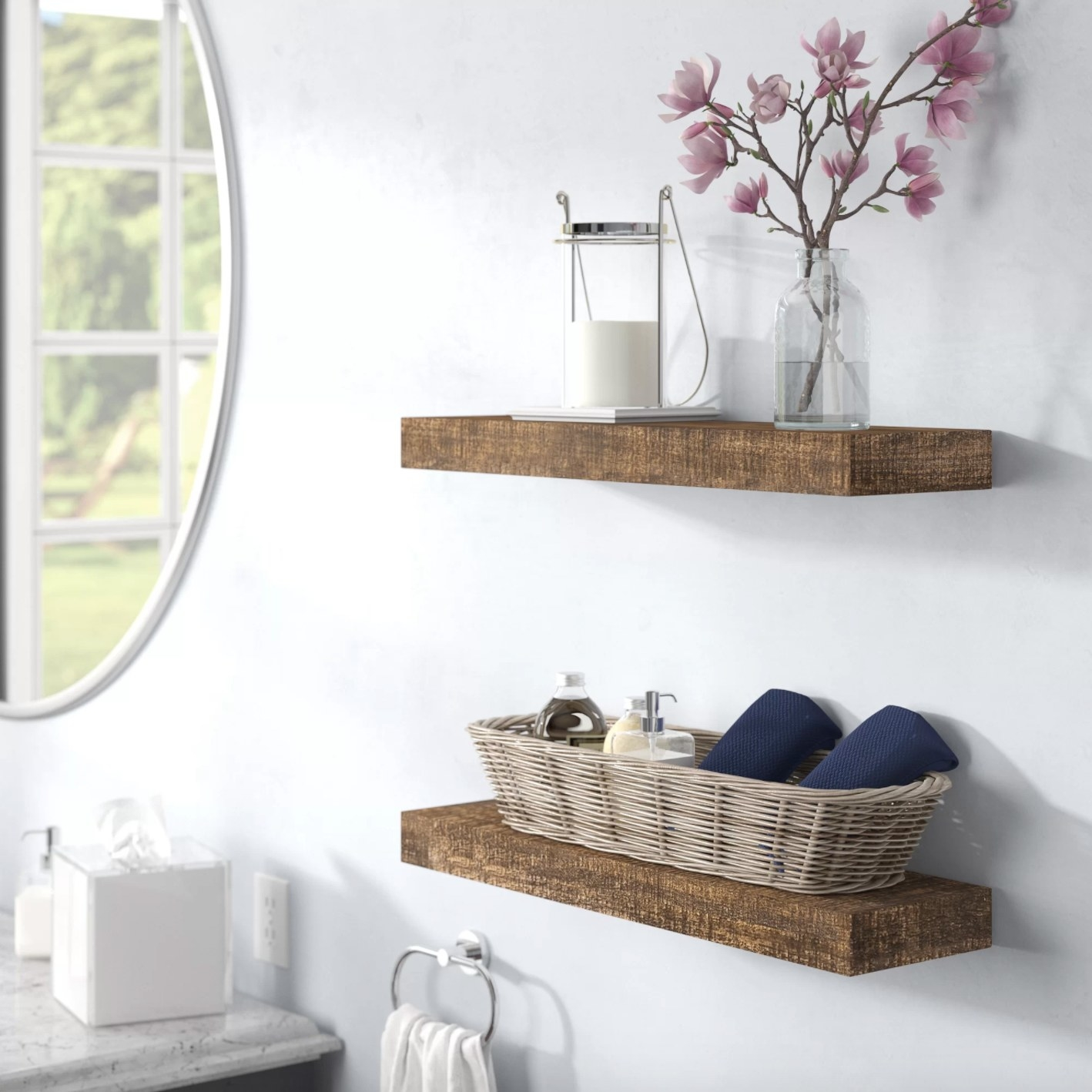 The set of two wood floating shelves in dark walnut