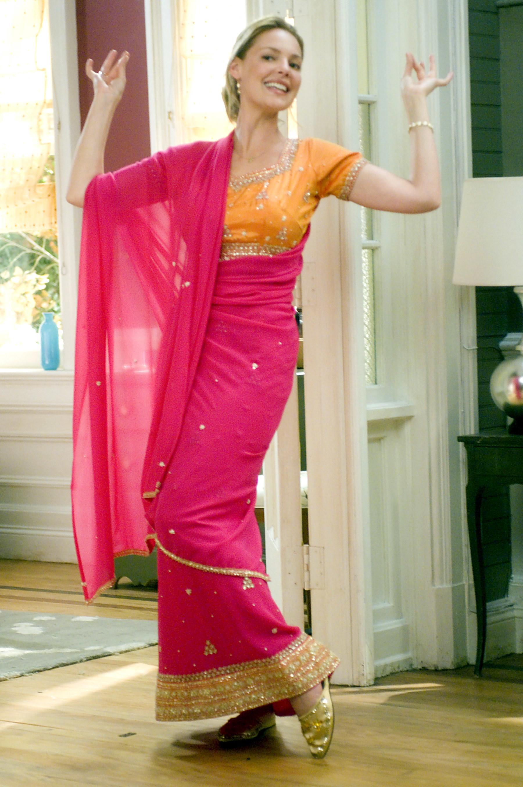 Jane poses in a sari