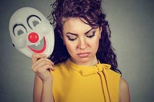 Sad Woman With Mask