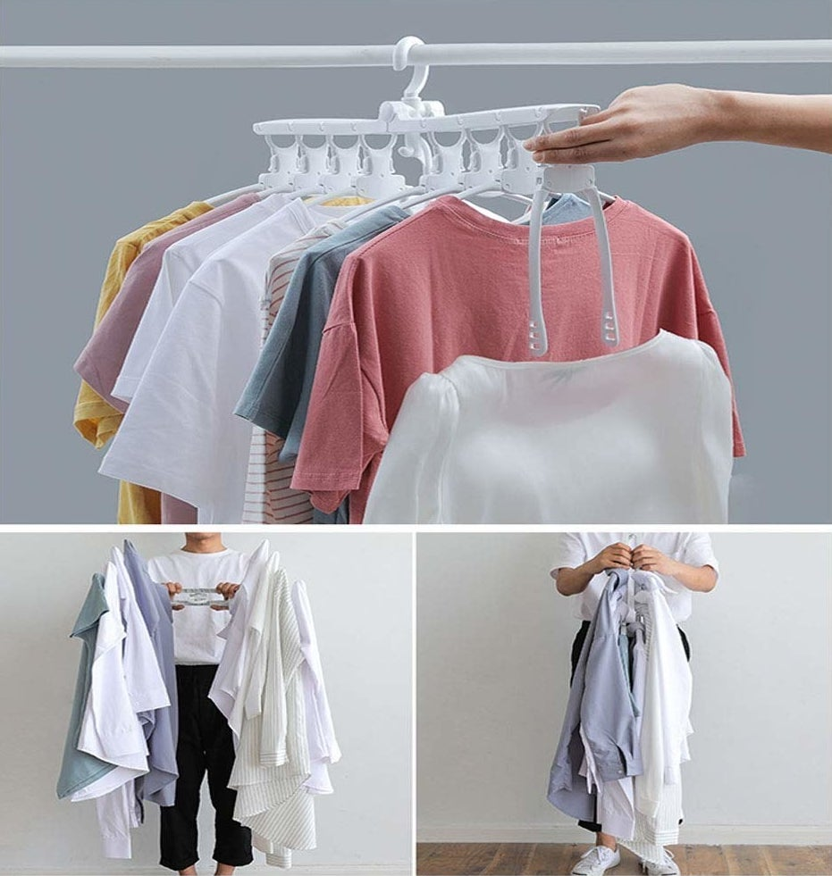 Varying ways to fold the clothing rack.