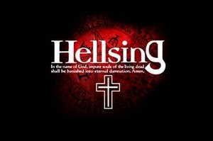 Hellsing is written in white with the words 'In the name of God, impure souls of the living dead shall be banished into eternal damnation. Amen', below in. The background is pitch black with a faint, blood red sigil of a pentagram.