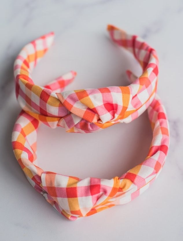 the white, pink, red, and orange gingham knotted headbands