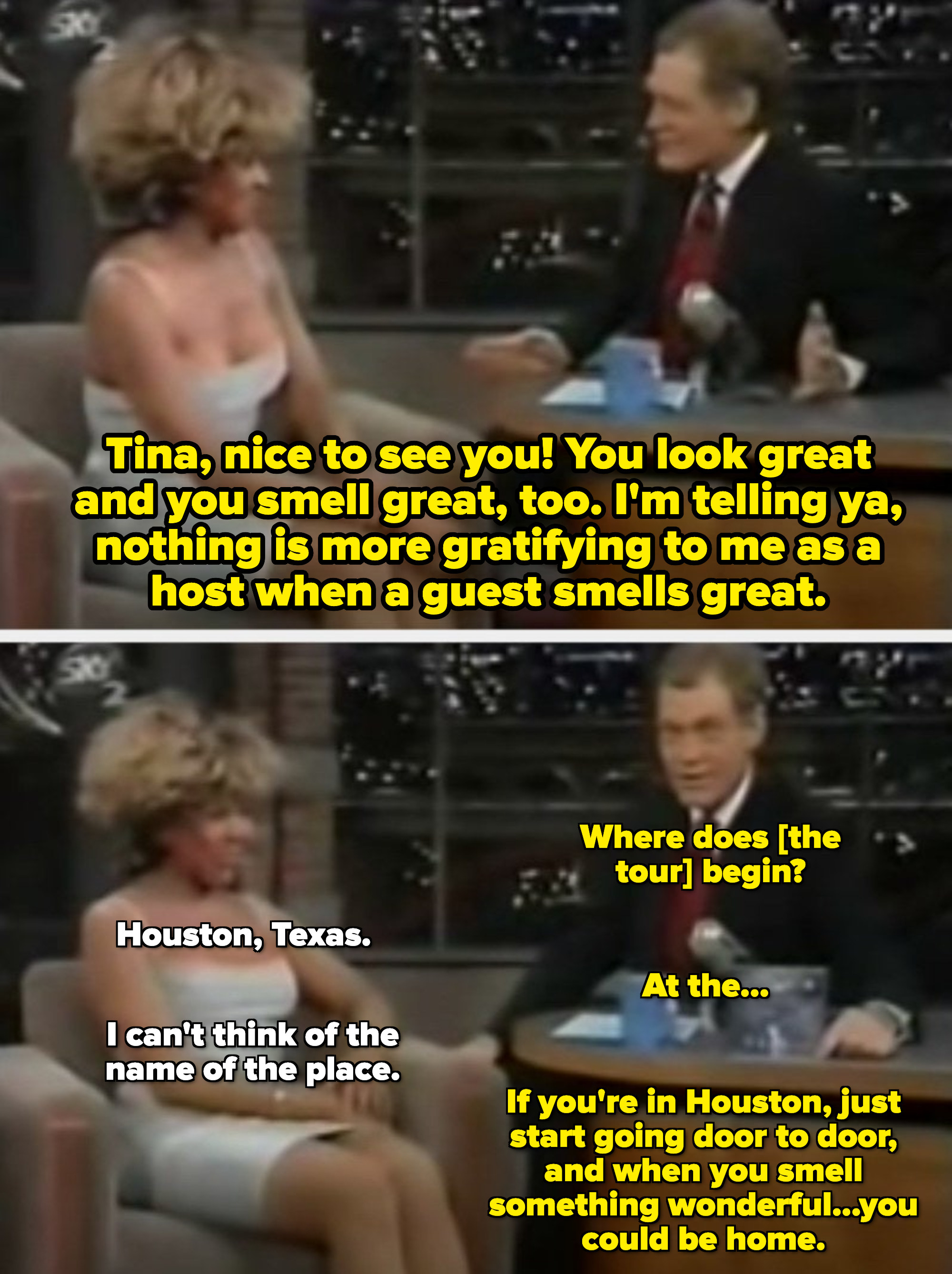 """Letterman telling Tina Turner she smells great and that """"Nothing is more gratifying to me as a host when a guest smells great"""""""