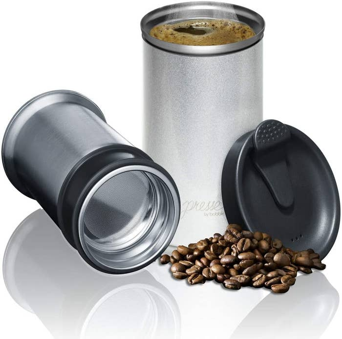 the two-piece silver tumbler and black lid
