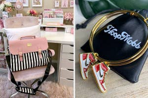 A striped laptop bag and hoop earrings with sneaker-shaped charms