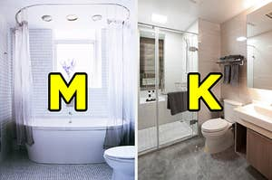 "On the left, a bathtub near a window on a tile wall with a shower curtain around it and a toilet next to it labeled ""M,"" and on the tight, a shower next to a toilet and sink labeled ""K"""