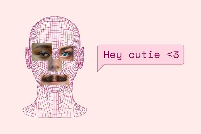 """Face with features from different faces with the text bubble """"hey cutie <3"""""""