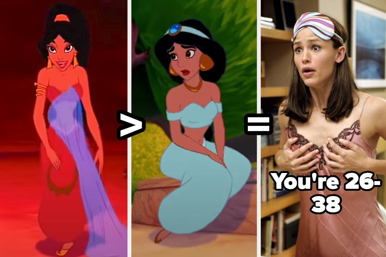"""Jasmine in her harem pants and bikini top and arm cuff marked better than her original outfit that's the same with off the shoulder sleeves, with an image of Jenna from 13 Going on 30 with the text """"you're 26-38"""""""