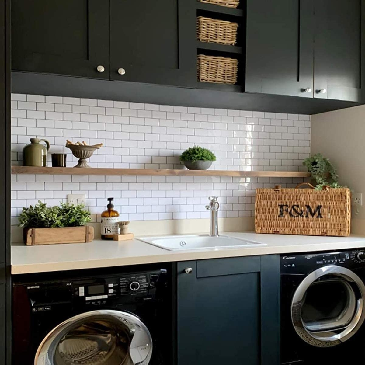 the backsplash in a laundry room