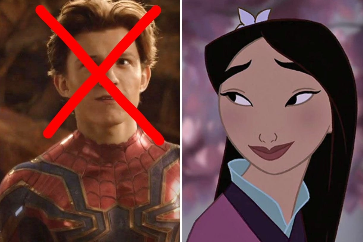 Spider-Man with X through his face and Mulan