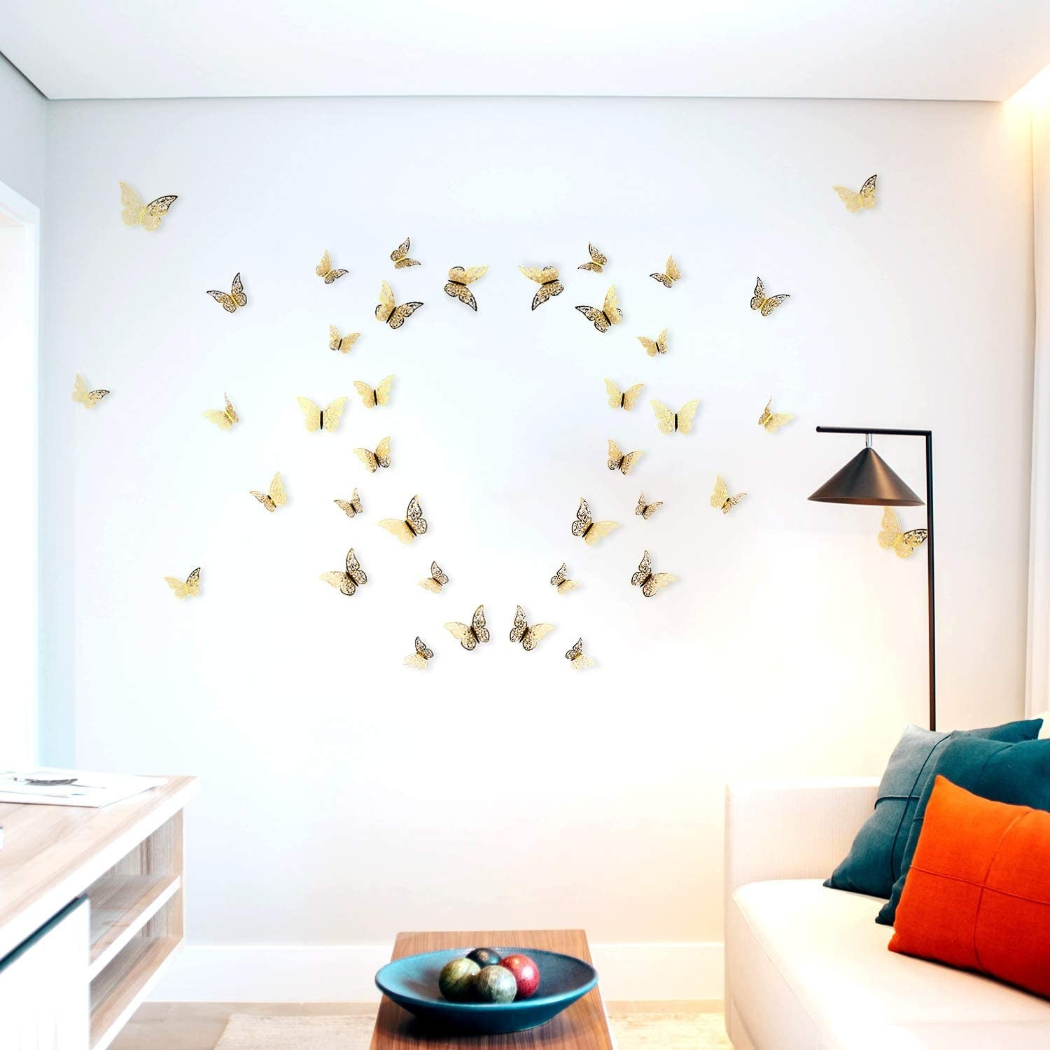 the butterfly stickers on a wall