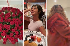 A huge bouquet of flowers, Camila Cabello posing with some pancakes, and Lizzo wearing a glorious fur coat