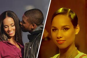Alicia Keys and Usher are on the left kissing with another portrait on the right