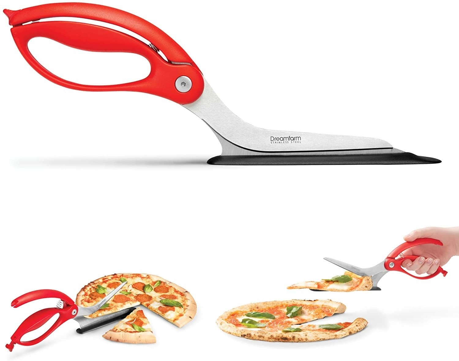 the red scissors cutting a slice of pizza