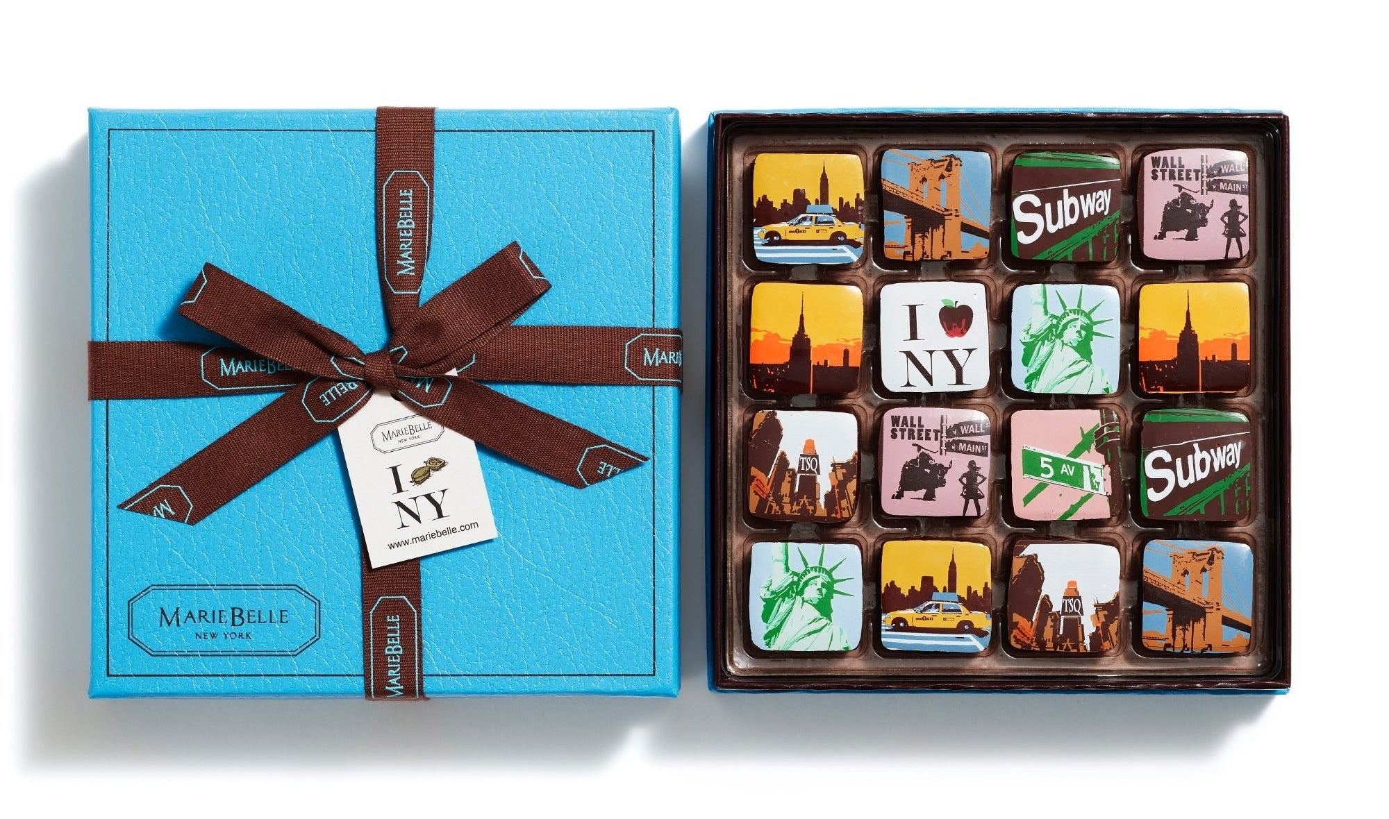 The box of chocolates with different New York City-themed designs
