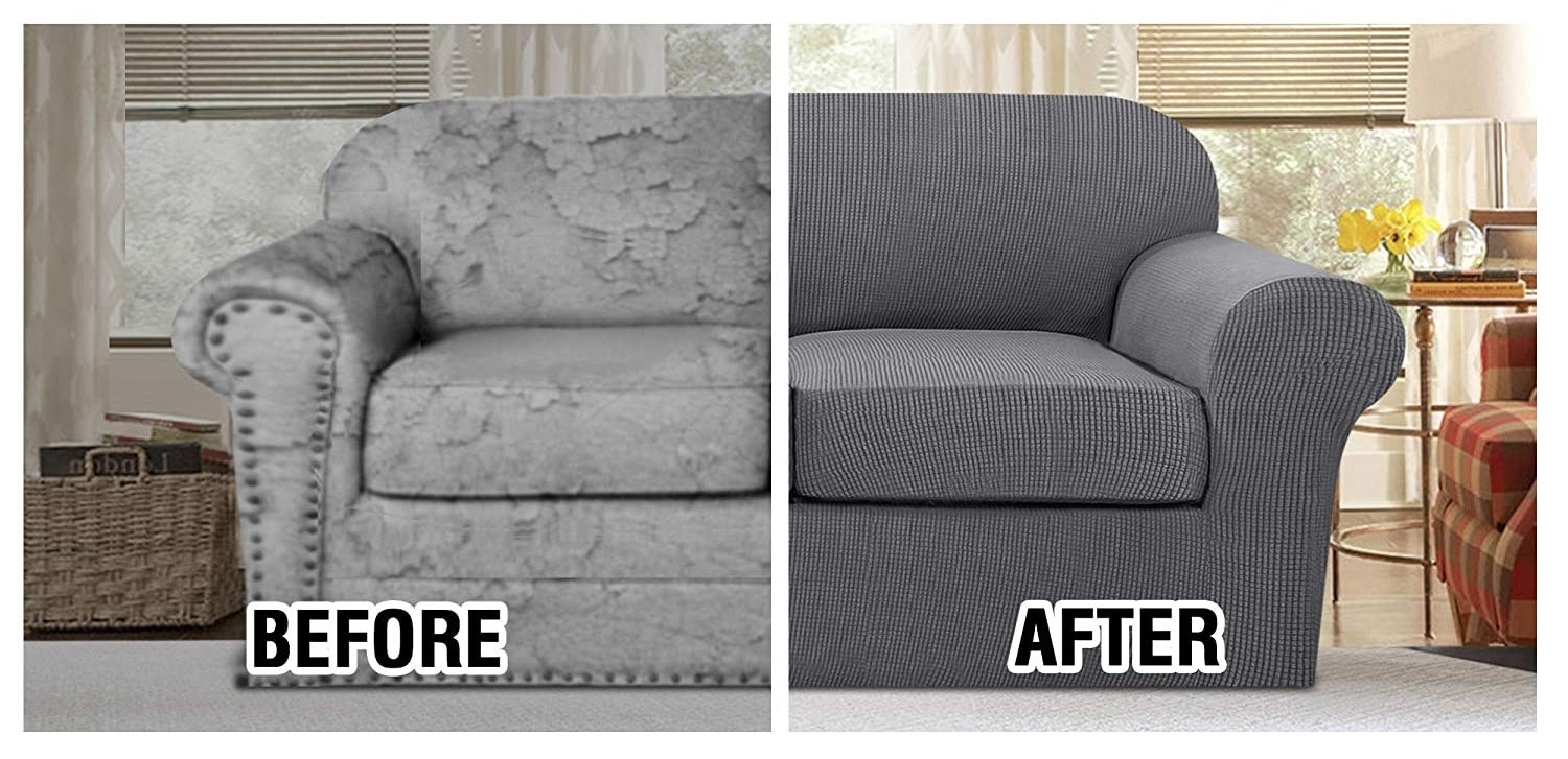 a before and after of a couch with the cover on