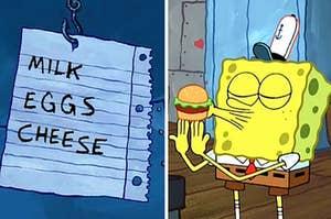 grocery list and spongebob