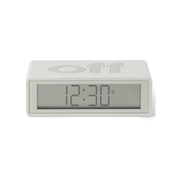 The alarm clock with the word OFF on top