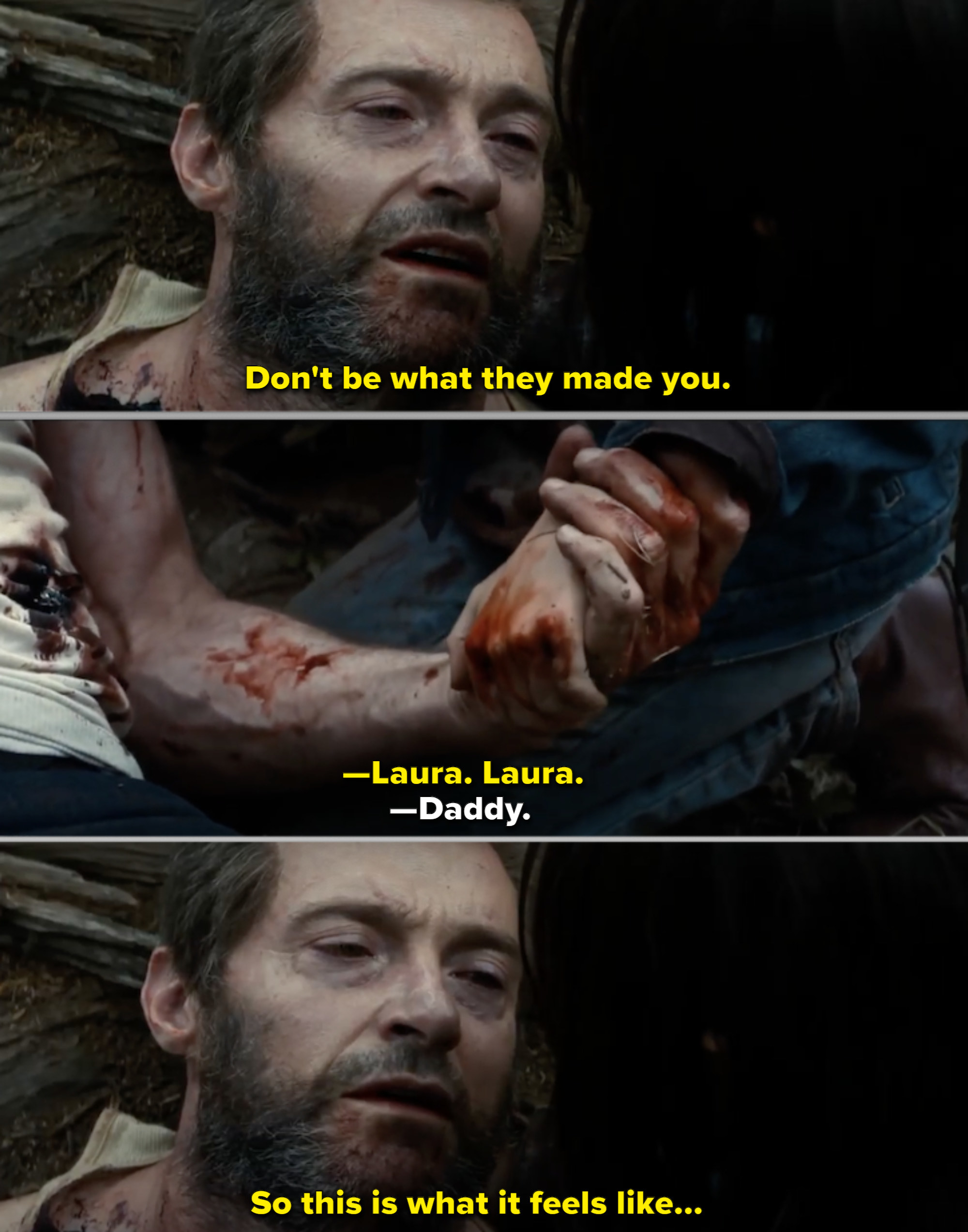 Logan saying his final words before dying outside