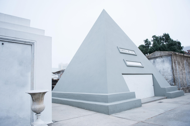 A pyramid-shaped tomb