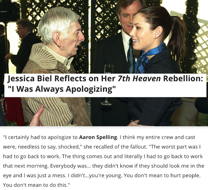 """An image of Jessica Biel and Aaron Spelling with text from Biel's interview with E: """"I had to apologize to Aaron Spelling. I think my entire crew and cast were shocked"""""""
