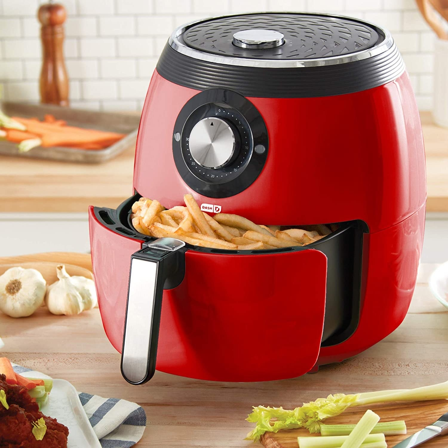 red air fryer with fries inside non-stick air frying basket