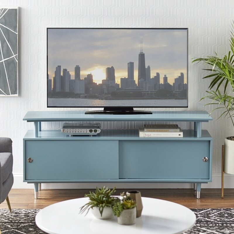 the tv console in blue