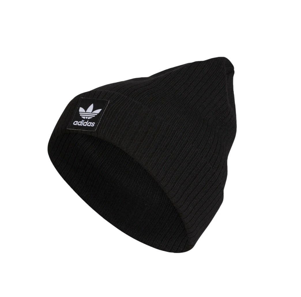 A black beanie with the Adidas logo on the front