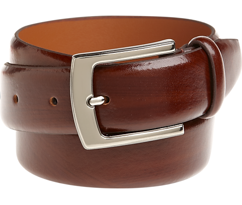 brown belt with a silver tone buckle