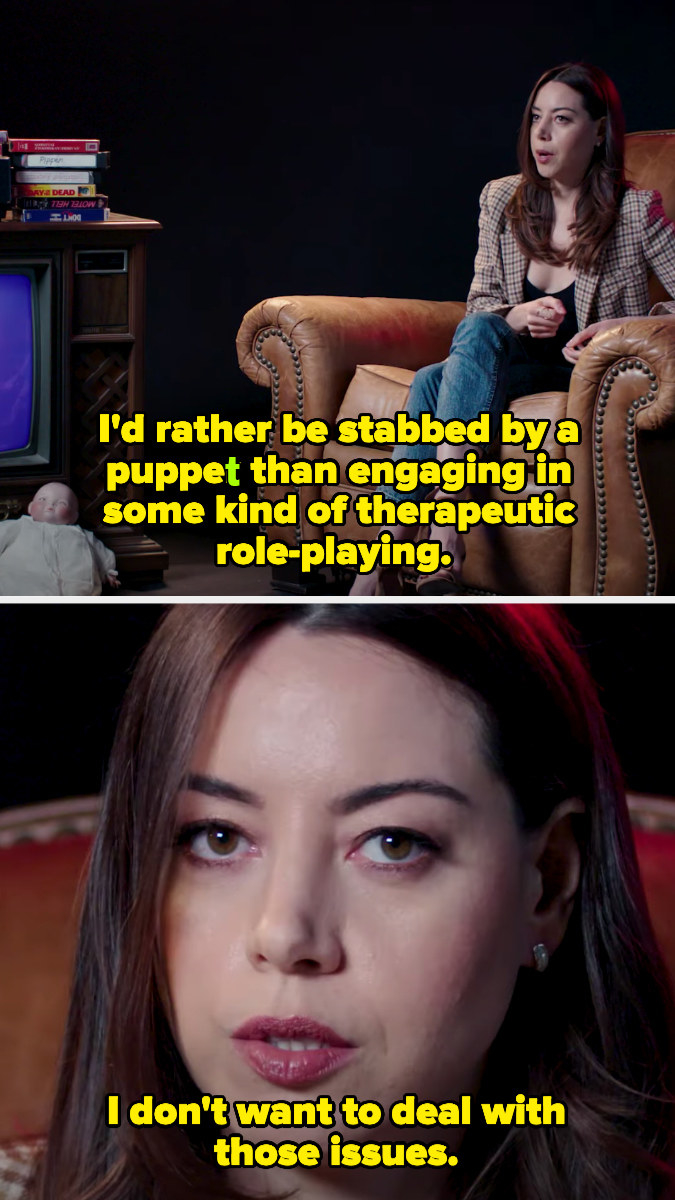 Aubrey saying she'd rather get stabbed by a puppet than do therapeutic role-playing