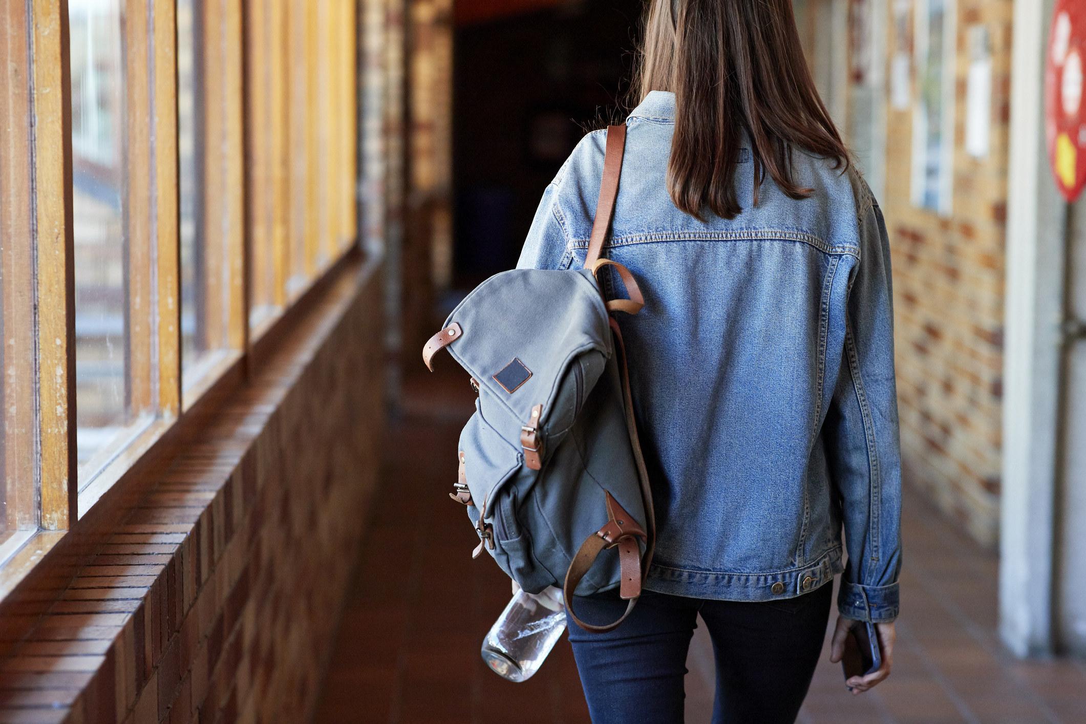 Model wearing a backpack
