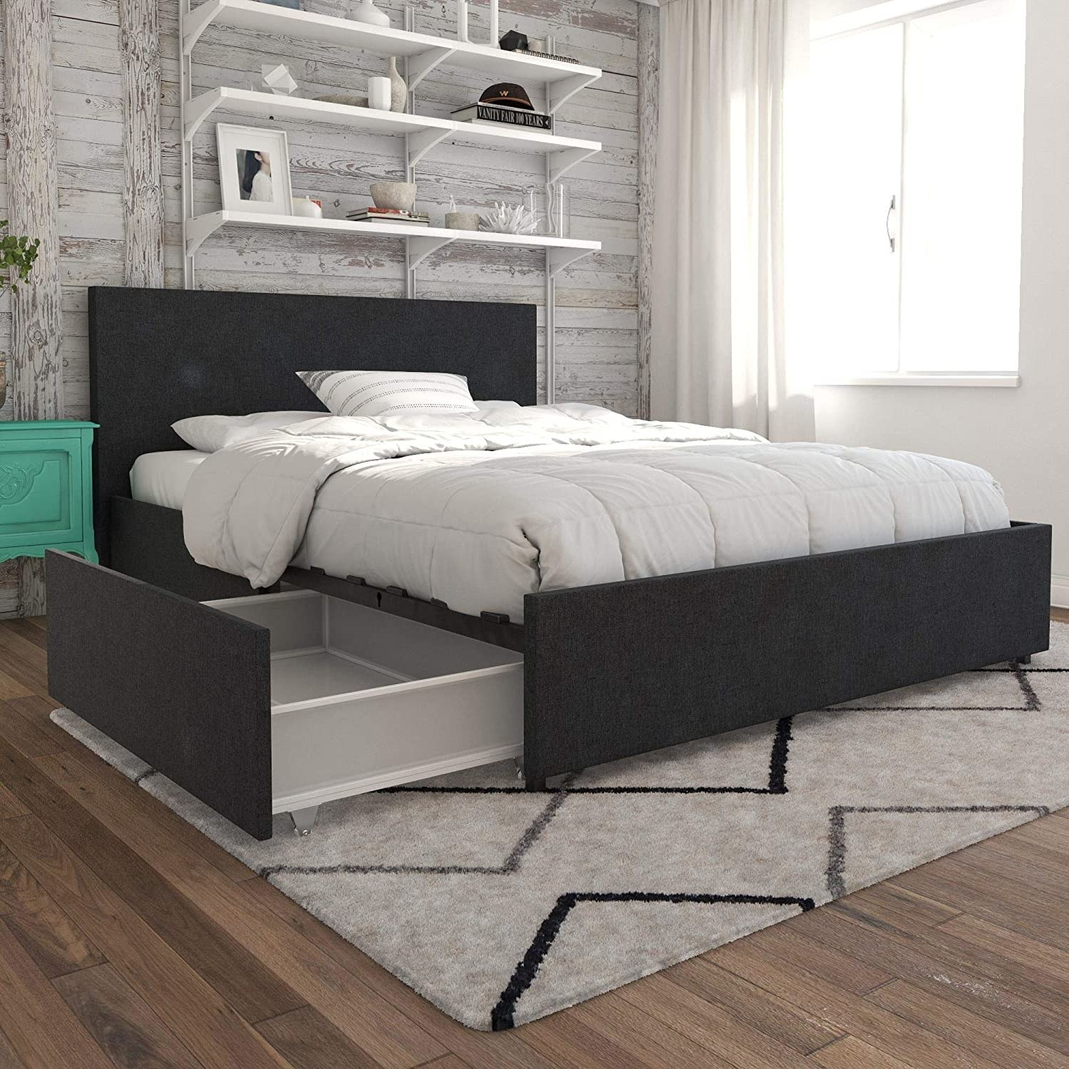 Queen bed frame with upholstered head and base boards and storage drawers underneath
