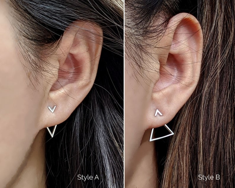 Two images of people wearing earrings