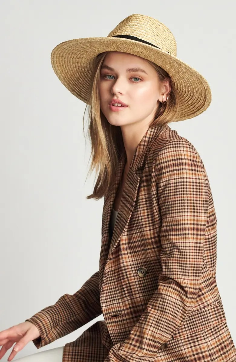 The hat worn by a model