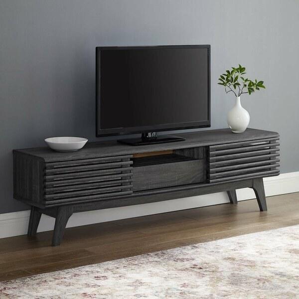 The TV stand in dark gray