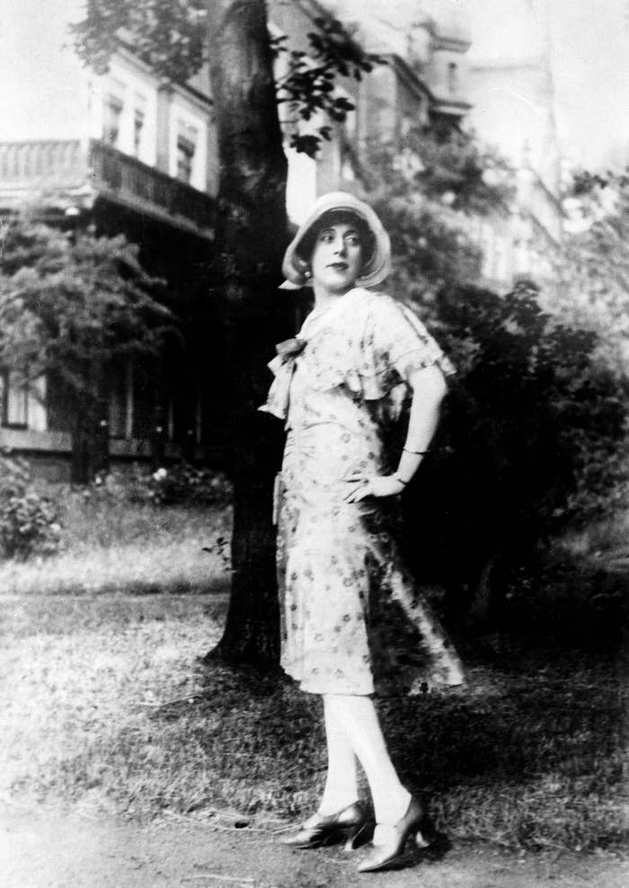 A black and white image of Lili Elbe