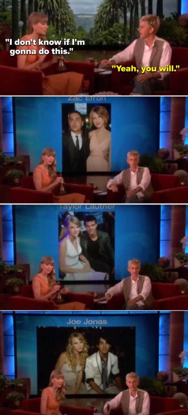 Ellen memajang foto-foto mantan kekasih Taylor di layar besar