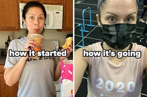 The author eating donuts at home; the author working out at a gym