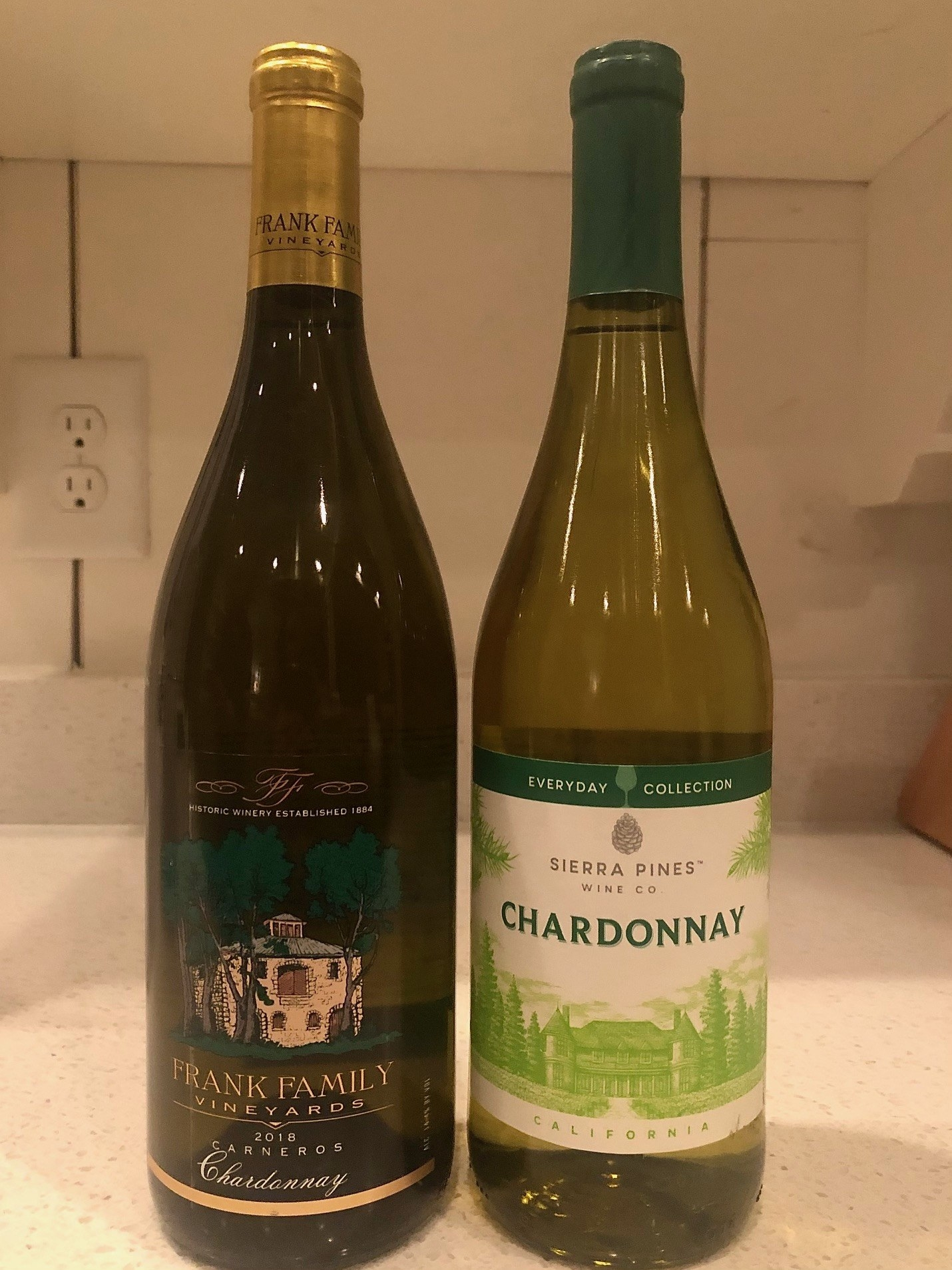 Two bottles of Chardonnay white wine