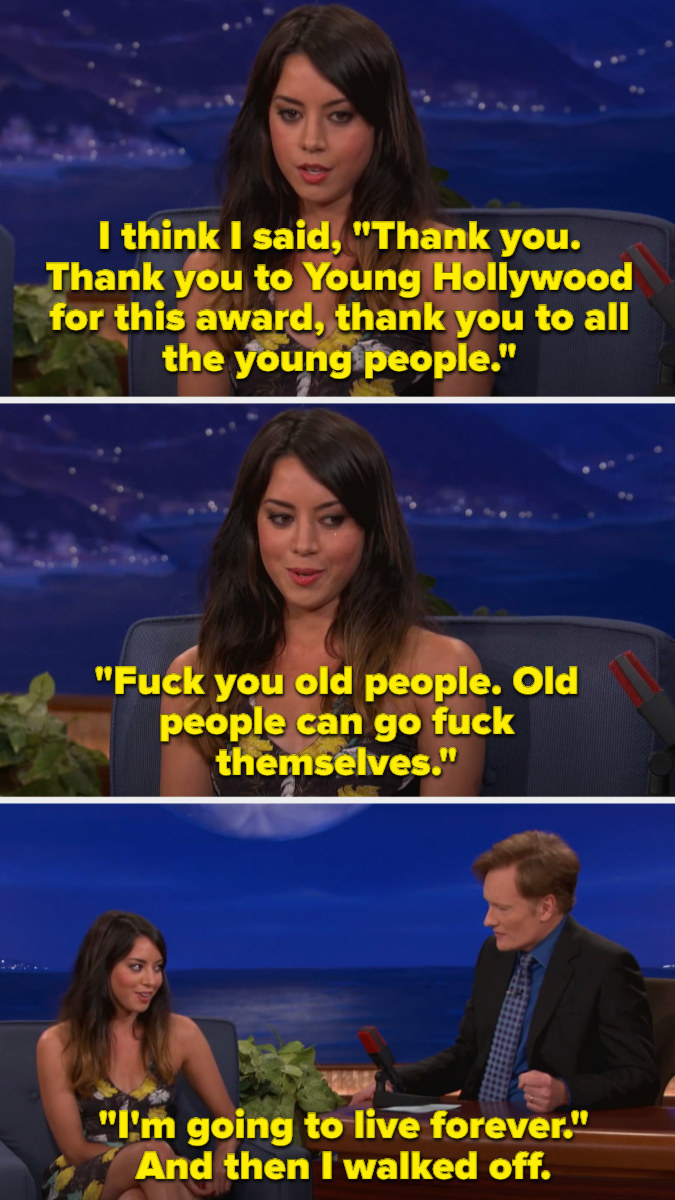 Aubrey thanking Young Hollywood and young people before telling old people to go fuck themselves
