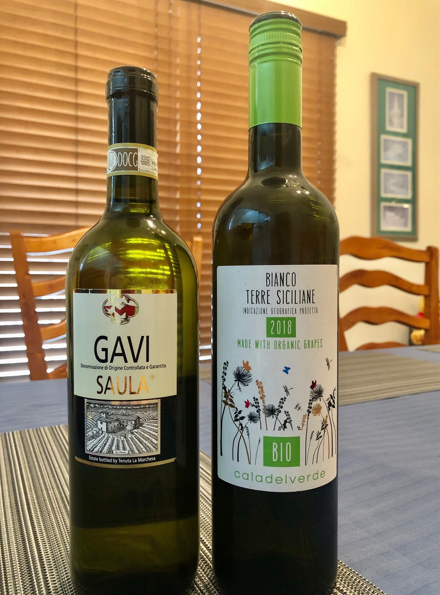 Two bottles of Italian white wine