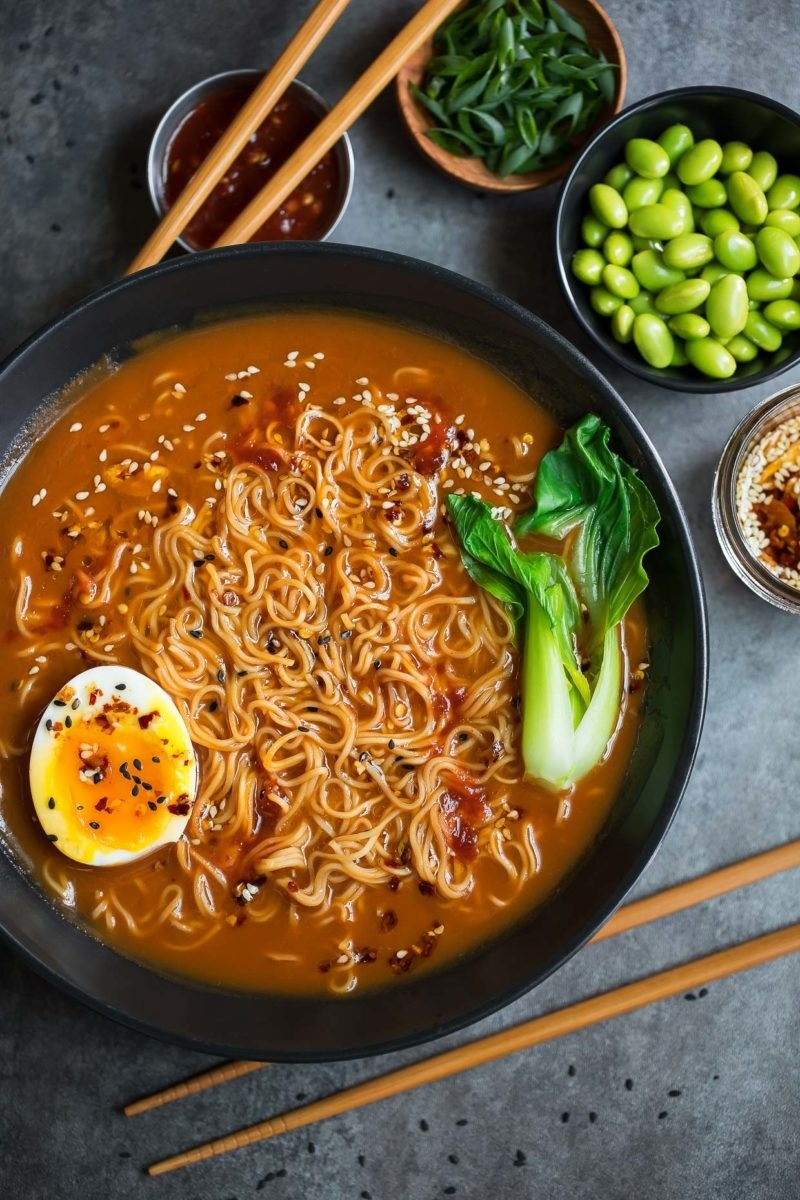 Spicy ramen with bok choy and soft boiled egg.