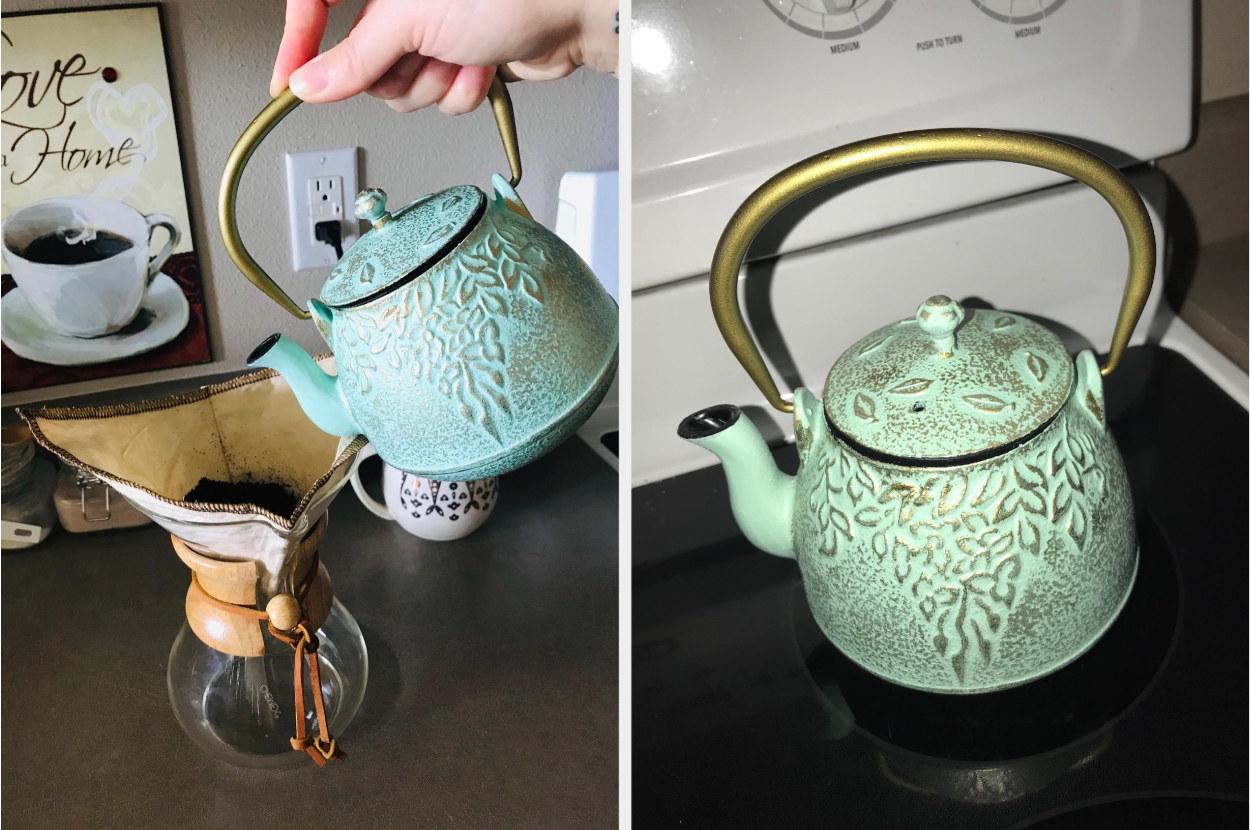Reviewer's split image of light green cast iron tea pot