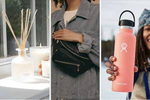 A split thumbnail of a diffuser, a bag, and a bottle