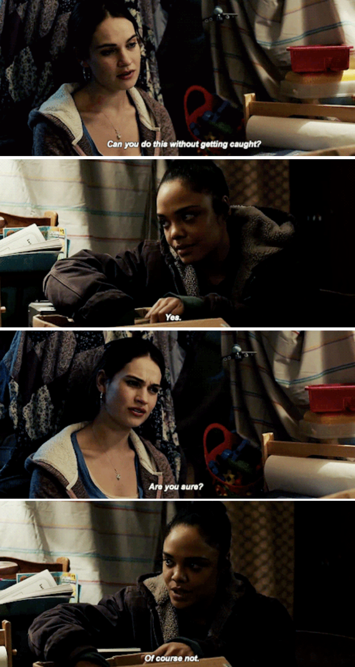Tessa Thompson and Lily James' characters talking