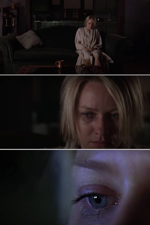 The ending of the movie with Watts' character in the house, alone, sitting on the couch